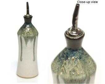 Ceramic oil bottle with black and white glazes, handmade by Jason Hooper Pottery