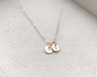 "Wholesale - Two Tiny Customized Initial 1/4"" Disc Necklace in gold Small Dainty Disc Charms - Personalized - Bridal Gift - thelovelyraindrop"