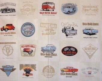 Old Guys Rule Fathers Day Classic Car Robert Kaufman Fabric Panel