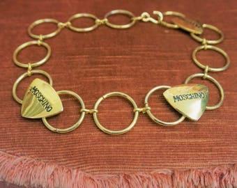 Vintage MOSCHINO Necklace Vintage Gold Chain Necklace 90s Choker Necklace Designer Statement Necklace Rock Engraved Gold Guitar Picks E3081