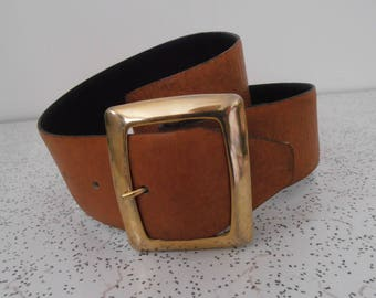 1970s vintage leather belt with gold buckle