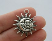 BULK 20 Moon and sun pendants antique silver tone M57