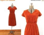 ON SALE 1970s Rust Dress / 70s Burnt Orange Terry Dress