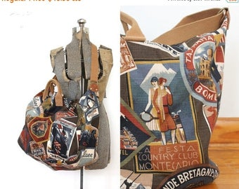 ON SALE 90s Weekender Bag / 1990s Vintage Style Canvas World Traveler Postcard Novelty Luggage