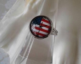 American Flag Clock Ring,USA
