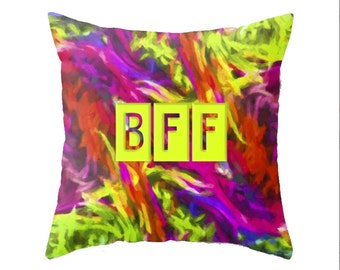 Child's Throw Pillow - BEST FRIENDS FOREVER bff decor, kids bedding, impasto design, lumbar or square friendship pillow, gift ideas for kids