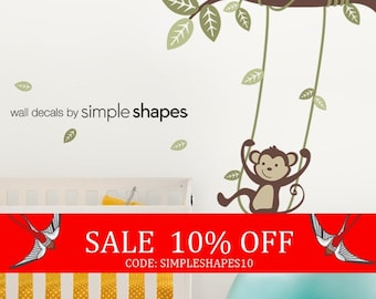 Sale - Monkey on a Swing Wall Decal - Kids Vinyl Wall Sticker Decal Set - Swinging Monkey - Kids Wall Decal - Nursery Decals