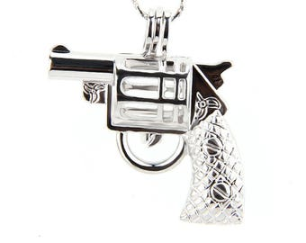 Buy NOW or Never Wholesale - QTY: 4 pieces Revolver - Gun - Pick a pearl cage - pendant - locket - Top QUALITY not Chinese Junk!