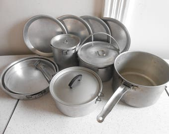 Vintage Aluminum Camping Cookware Set Shabby Chic 14 Piece Aluminum Cookware 50's-60's Era