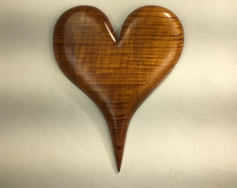 Yellow wooden Heart art special wood Anniversary gift wood carving