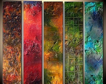 Abstract Colorful Multi Panelled Art Textured painting Contemporary Fine Art by Henry Parsinia Large 36x40x1.58