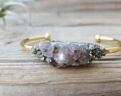 Raw Amethyst Crystal, Amythest Bracelet,  Pyrite Bracelet, Cuff Bracelet Druzy Cuff Bracelet Christmas Gift Druzy Stone Bracelet Gold Silver