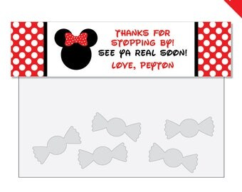 Red Minnie Mouse Party - Personalized DIY printable treat bag label