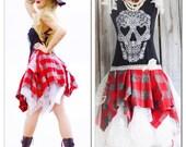 L SALE 90s Grunge Black Skull Dress, Punk Princess, Tartan Plaid, Romantic Goth Dresses, Gothic Lace Skull, Lagenlook, True Rebel Clothing