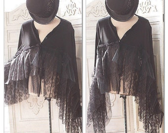Xlg L Stevie Nicks Style Gypsy Soul Black Lace Poncho, Spell Gypsy Vagabond Poncho Top, Bohemian Style Festival Clothes True Rebel Clothing