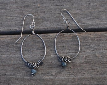 Sterling Silver and SAPPHIRE Hoop earrings Oxidized darkened Light Everyday Earrings