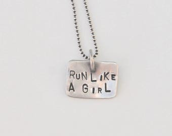 RUN LIKE a GIRL hand stamped Sterling Silver Pendant small charm Large Jump Ring on Ball Chain dark silver rustic