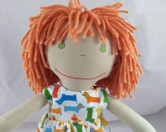 READY TO SHIP Rag doll, light skin tone, mop of apricot hair, Cloth Doll, Plush Toy, Soft Doll, Fabric Doll, Stuffed Doll