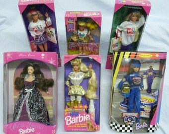 Vintage Barbie Dolls Original Packaging Hollywood Hair Barbie, Winter Fantasy Barbie, Stacie, Nascar Barbie, Shopping Spree Barbie and FAO