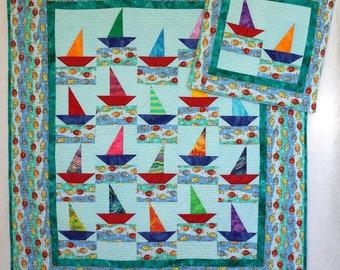 Baby boy quilt- Saiboats