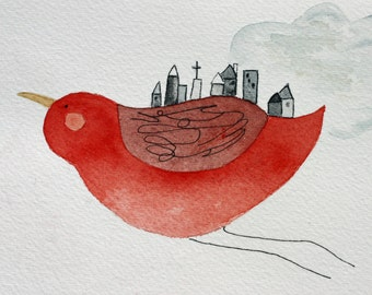 Bird original watercolor, city bird, red bird flying, grey buildings, houses, whimsical, city art, red and grey, simple, children's art