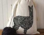 Knitting Project Bag, Organic Linen Drawstring Bag, Black Alpaca Design