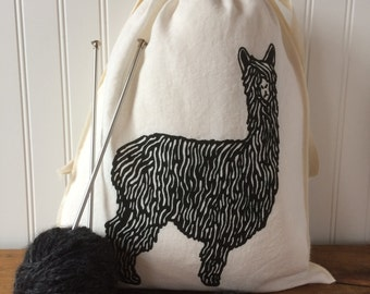 Knitting Project Bag, Organic Linen Drawstring Bag, Black Alpaca Design