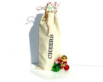 Cheers linen wine tote bag, holiday festive hostess gift, wine bottle bag, Christmas gift bag under 15