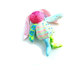 Custom bunny rabbit, handmade keepsake Easter bunny from your clothing, made to order animal, shelf sitter special order, recycled clothing