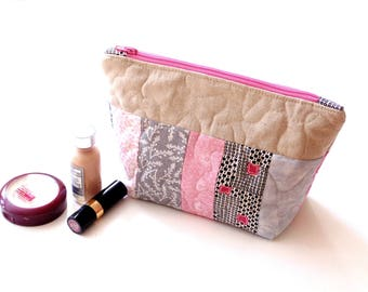 Quilted cosmetic bag, zipper pouch, pink grey, cotton makeup bag, toiletry travel bag, make up case, gift for her, quilted clutch bag