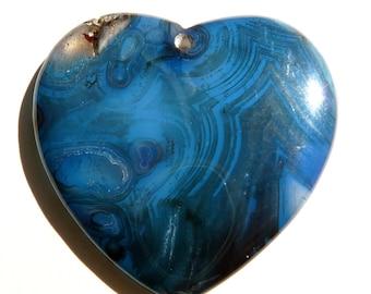 Gemstone Pendant Onyx Agate Pendant Gemstone Bead Agate Pendant Blue Heart Pendant Blue Pendant Agate Bead Blue Pendant Blue Bead