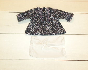 Tiny Flower Patterned Dress and White Leggings - 14 - 15 inch doll clothes
