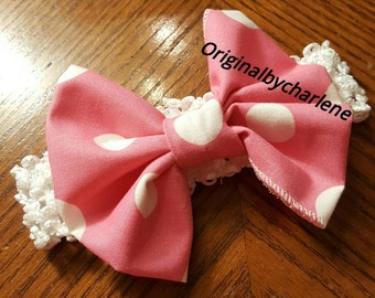Boutique OOAK Minnie Mouse Pink Dotted Bow Headband