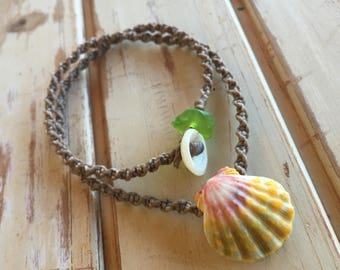 Hawaiian sunrise shell with and hint of green and seaglass necklace