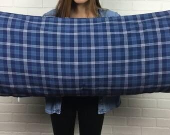 Ralph Lauren Blue Plaid Body Pillow Cover