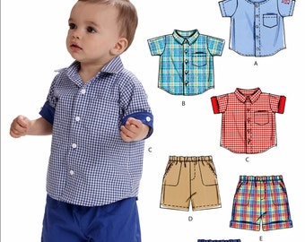 Toddler Boy Pants and Button Shirt Pattern, Baby Boy Shorts and Shirt Pattern, Little Boys Pants Pattern, McCall's Sewing Pattern 6016