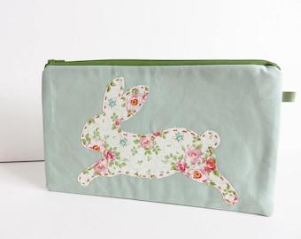 Tilda Fabric Bunny Applique Zippered Large Purse