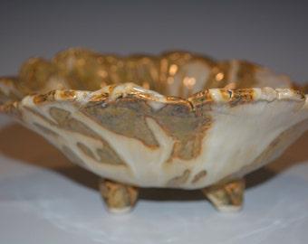 Ceramic Bowl, Pottery Trinket Dish, Ceramics and Pottery Bowl, Pottery Handmade, White and Gold