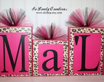 Ma'Lanynee Collection Personalized Blocks -Large Blocks-Leopard Print with Hot Pink Name Blocks-Baby shower-Black Font-Hot pink