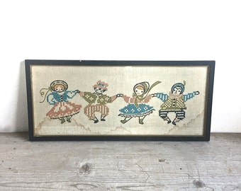 Vintage Cross Stitch Sampler Children Folk Costume Framed  AS IS