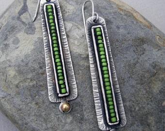 Long southwest earrings, silver boho earrings, tribal earrings, cowgirl jewelry, long mosaic silver earrings, tomlindesign, artisan earrings
