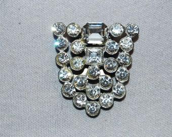 Vintage / Art Deco / Dress Clip / Clear / Large / Bridal / Wedding / Rhinestone / Sparkling / old jewelry