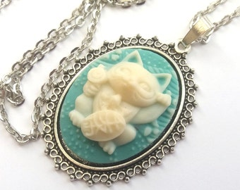 Lucky Cat Necklace, Maneki Neko Necklace, Blue and Cream Cat Cameo Necklace, Japanese Lucky Cat, Good Luck, Prosperity, Silver or Bronze