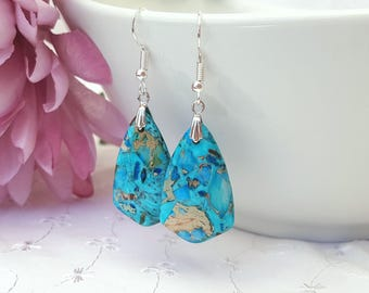 Turquoise Jasper Earrings, Turquoise Blue Jasper Geometric Earrings, Jasper Drop Earrings, Sterling Silver, Plated or Surgical Ear Wires