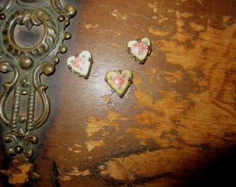Vintage Guilloche Rose Heart Dresden Enamel Cabochon Montees Tiny Yellow Pink