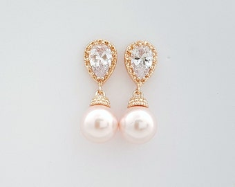 ROSE GOLD Wedding Earrings Pink Pearl Bridal Earrings Cubic Zirconia Swarovski Rosaline Pink Pearls Wedding Jewelry