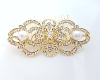 Gold Bridal Hair Comb Gold Pearl Wedding Hair Accessories Art Deco Style Gold Bridal Hair Jewelry, Jill