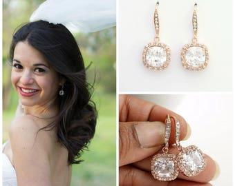Rose Gold Wedding Earrings, Bridal Jewelry, Square Drop Cubic Zirconia, Bridal Earrings Rose Gold, Dangle Earrings Wedding Jewelry, Riley