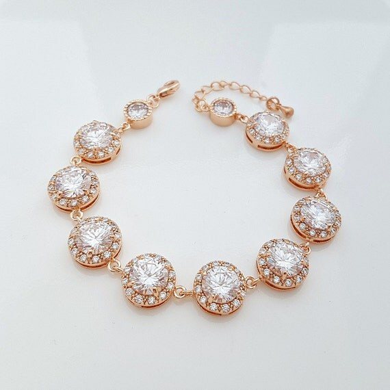Rose Gold Wedding Bracelet, Crystal Bridal Bracelet, Wedding Jewelry, Rose Gold Cubic Zirconia Bracelet, Ena