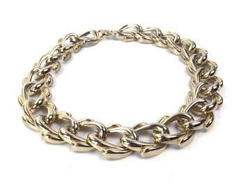 vintage 80s 90s collar necklace molded heavy gold metal choker women accessories jewelry oversize link shape big art deco lines bowtie box